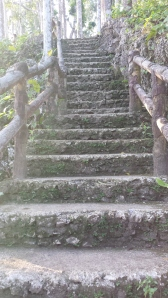 The slightly steep stairway to the top of the cave.